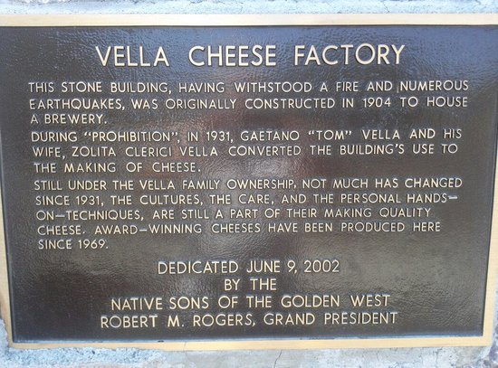 Vella Cheese Company: Info on Winery  outside door