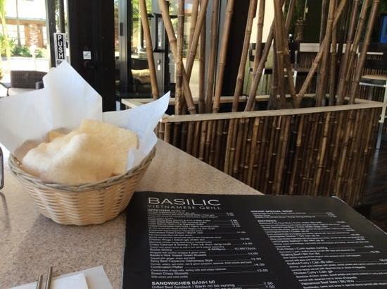 Basilic Vietnamese Grill: shrimp crackers