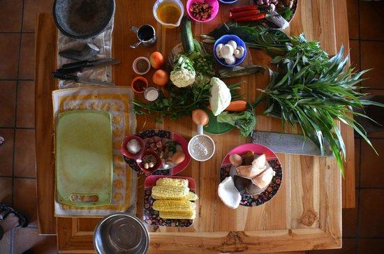 Capung Sakti Maison d'Hôtes : nos préparatifs après le marché pour le cours de cuisine
