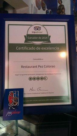 Restaurant Pez Colorao : Merecido reconocimiento