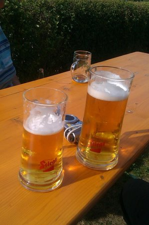 Camping & Pension Au an der Donau: bier tijdens de linedance optreden