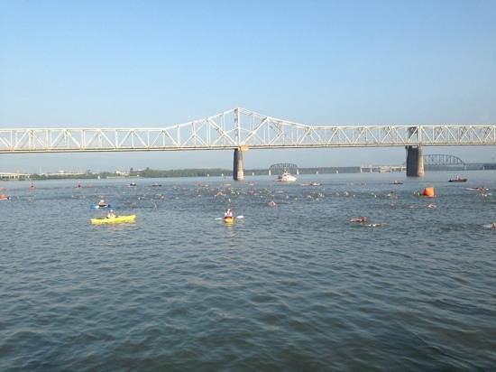 Louisville Waterfront Park: view of the river from the park... people were practicing the Ironman entry the day before the r