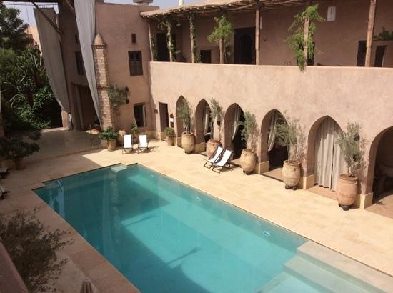 Caravanserai: view of the pool from our room