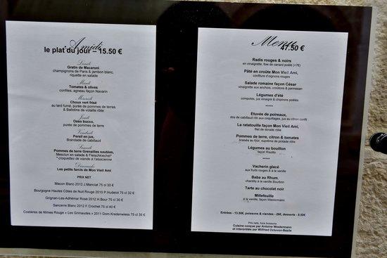 Mon Vieil Ami: menu