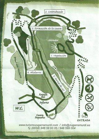 Cueva de las Brujas - Zugarramurdi : Mapa del recorrido de la visita a las cuevas de Zugarramurdi