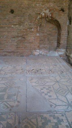 Ancient Theatre of Taormina : Mosaico romano lleno de excrementos de paloma
