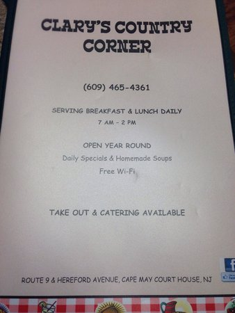 Clary's Country Corner Restaurant: Menu
