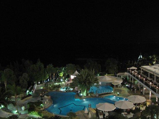 Mediterranean Beach Hotel : Night time balcony view..