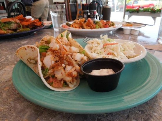 The Inn on Peaks Island: Deliciouso Fish Tacos (2) with worthy side of  cole slaw