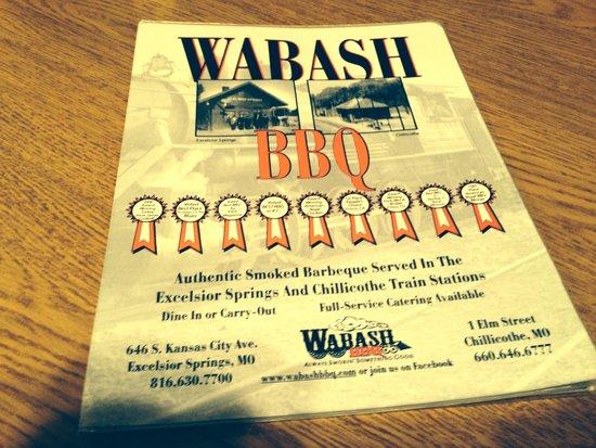 Wabash's BBQ and Blues Garden : Menu