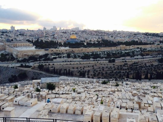 It's a beautiful view of the Old City from the Mount of Olives.