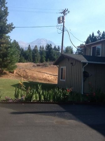 Swiss Holiday Lodge: view of Mt shasta from parking are