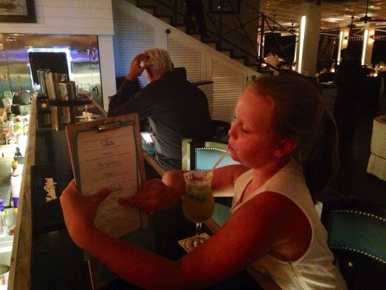 Lone Star Restaurant & Hotel: Someone is pleased with her Virgin mojito!!