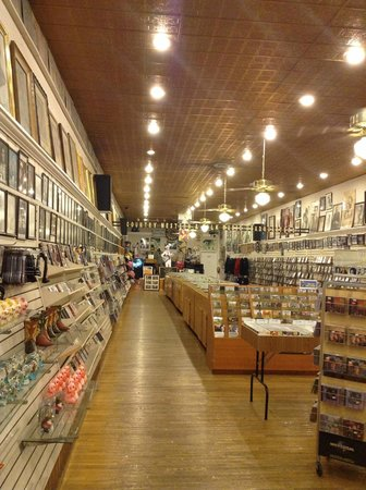 Ernest Tubb Record Shop: Inside the shop - souvenirs and music for sale; photos lining the walls