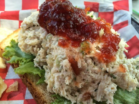 Kling House: open face chicken salad with orange-cranberry relish!