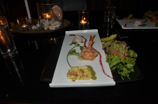 Mario's Cuisine: Sampling of grouper (shaped into a rose), prosciutto wrapped shrimp, fish cake with celery pesto
