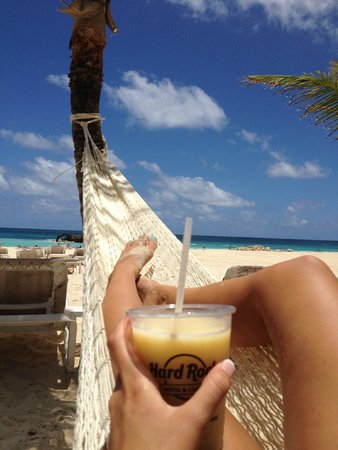 Hard Rock Hotel & Casino Punta Cana: Chilling in a hammock on the beach...