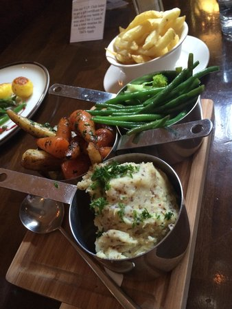 Arch Bistro: Side dishes. Mustered mash. Honey roots vegetable. Broccoli