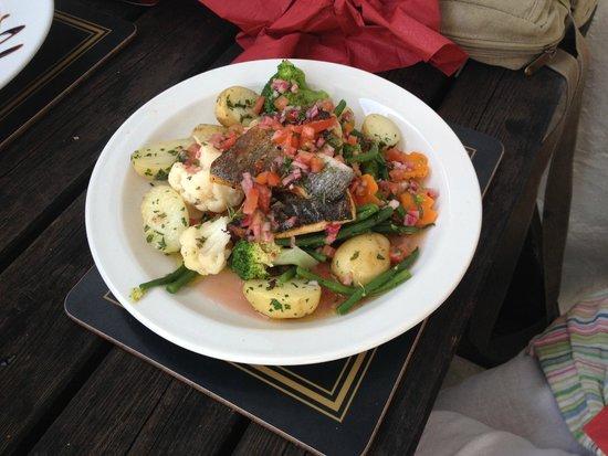 "The Plough Inn Restaurant: ""Catch of the Day"" served with Fresh Seasonal Veg & New potatoes"