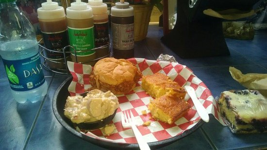 Andy Nelson's Southern Pit BBQ: Pulled Turkey Q samich, corn bread, & potato salad