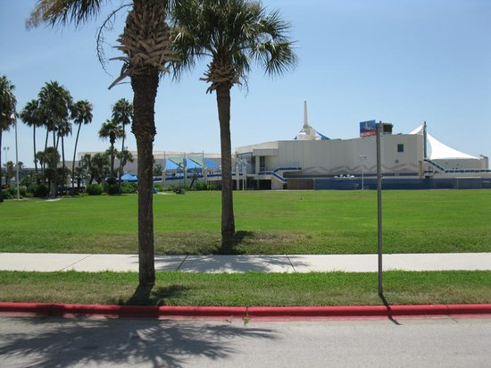 Texas State Aquarium: Looking from parking lot