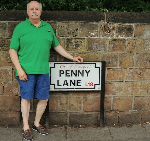 Beatles Magical Mystery Tour: Standing next to Penny Lane Sign