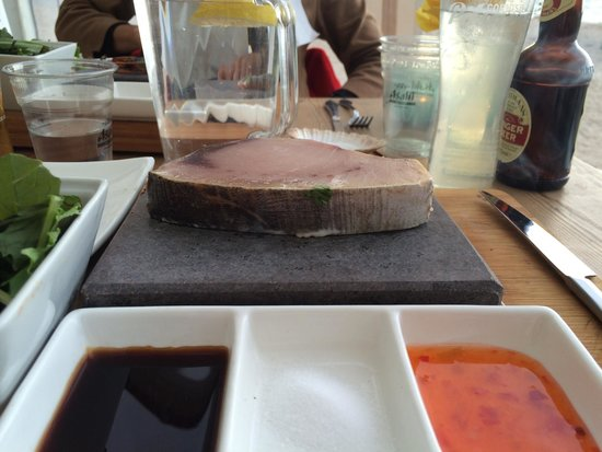 Lusty Glaze Beach Restaurant: Cook-it-yourself swordfish on hot rock. Fish was nice and fresh