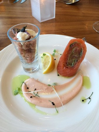 Hilton at St George's Park, Burton upon Trent: Shrimp and smoked salmon starter