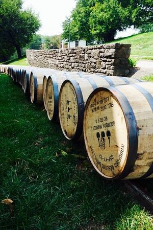 Woodford Reserve Distillery : barrels filled and waiting placement in the warehouse for aging