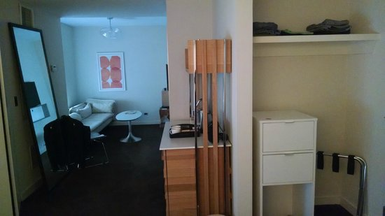 The James Chicago-Magnificent Mile: A very attractive room marred only by the white Ikea cabinet at the front door.