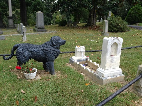 Hollywood Cemetery: Loyal companion looks over the child he loved.
