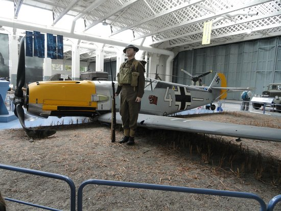 """Imperial War Museum: A diarama with a """"crashed"""" Me 109E"""