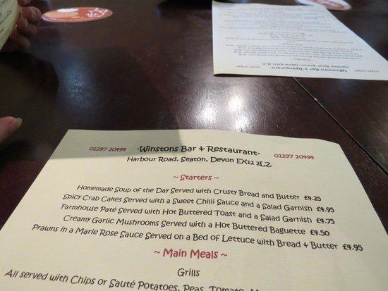 Winstons Bar & Restaurant: Menu