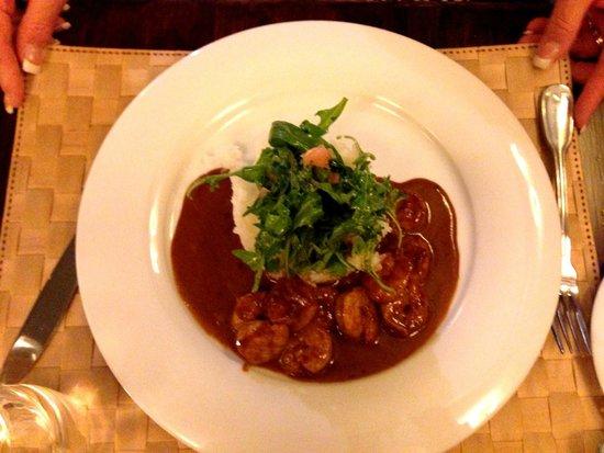 Renomme : Roasted prawns marinated in tandoori served with jasmine rice, rocket salad and coriander