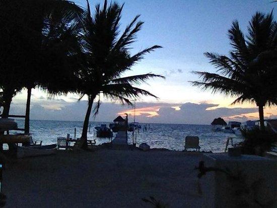 Costa Maya Beach Cabanas: Sunrise from the main entrance of the hotel