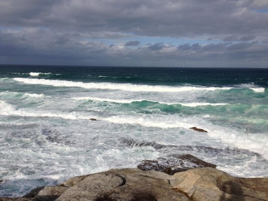 Bondi to Coogee Beach Coastal Walk: From rocks on the Bondi coastal walk, you're up close to the ocean and its waves, but be careful