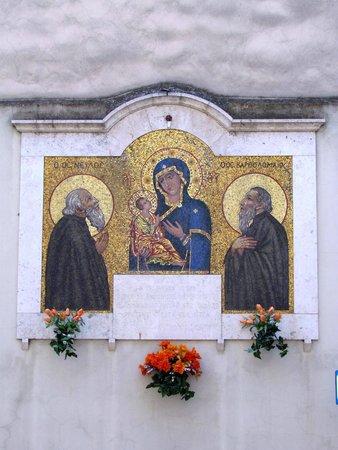 Abbazia Greca di San Nilo: A Mural depicting the St. Maria of Grottaferrata with St. Nilus and St. Bartolomaeus (Grottaferr