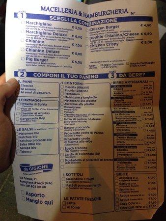 Pomigliano d'Arco, Italia: Ecco il corposissimo menù con i numerosi ingredienti con i quali costruire il proprio panino!