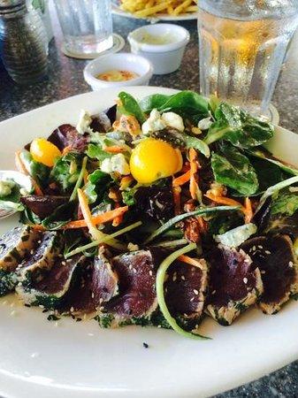 Mala - Ocean Tavern: Farmer Salad plus Ahi, minus the pita cracker that was already passed on to hubby.
