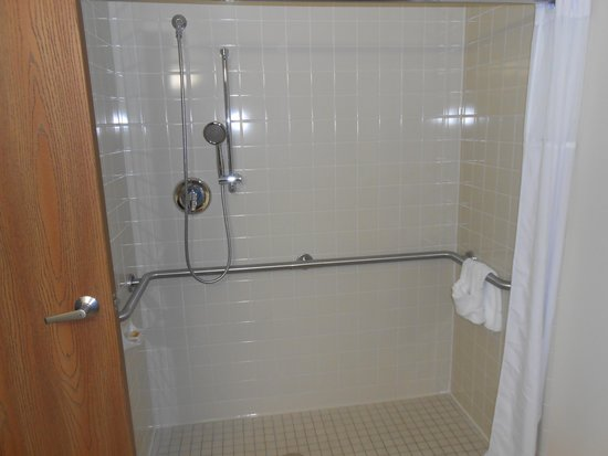 Days Inn Alpena: Roll-in shower in accessible room