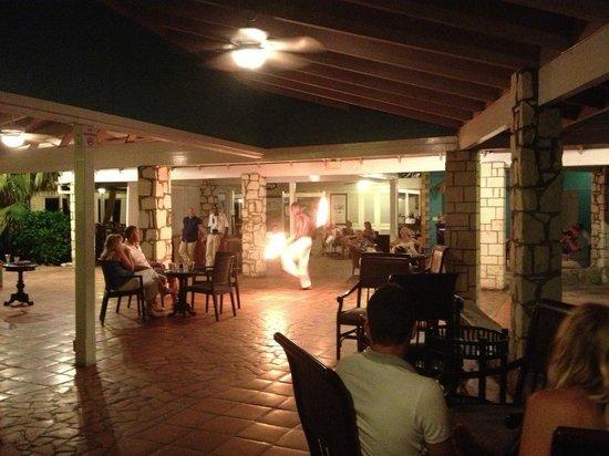 Pineapple Beach Club Antigua: fire dancer - night entertainment
