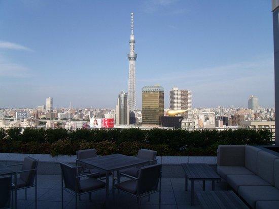 THE GATE HOTEL Asakusa Kaminarimon by HULIC : テラスから夕方西日に映えるスカイツリー