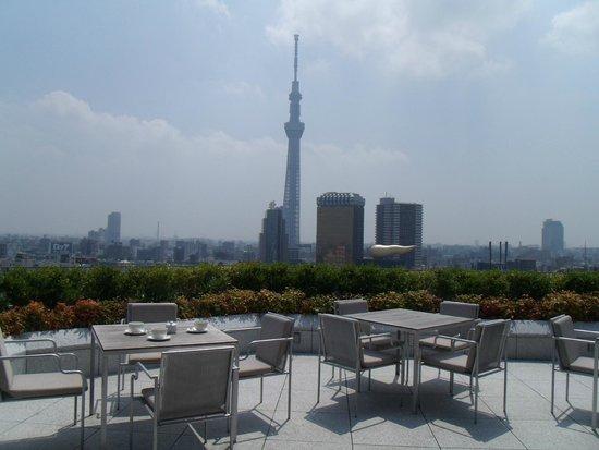 THE GATE HOTEL Asakusa Kaminarimon by HULIC: テラスから朝日を浴びるスカイツリー