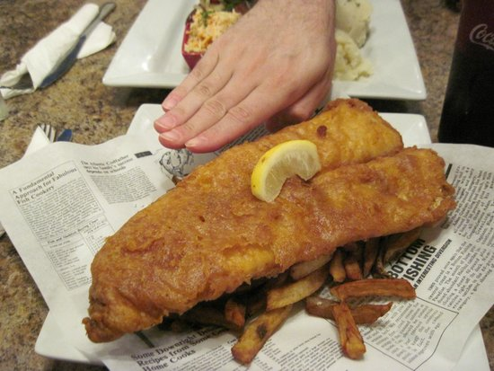 Brits Fish and Chips: One-piece Cod and Chips - fries are hiding under the gigantic piece of fish!