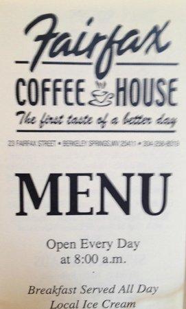 Fairfax Coffee House: Menu Flyer