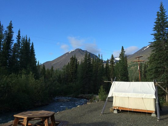 Denali Mountain Morning Hostel and Cabins: opposite view of the creek, with one of the tents