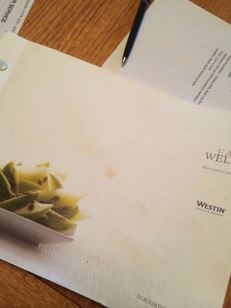 Westin Monache Resort Mammoth: Dirty room service menu