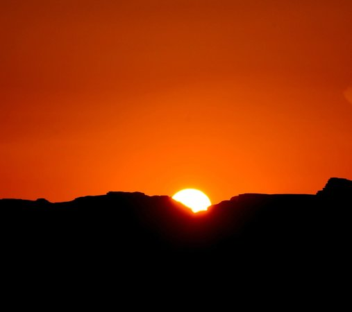 The sun sets in Wadi Rum....