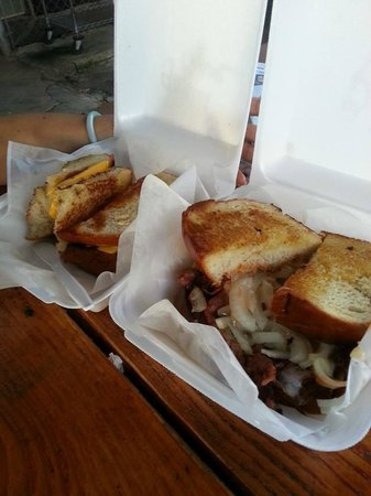 Tita's Grill and Catering : grilled cheese on homemade bread (left); pastrami on homemade bread (right)
