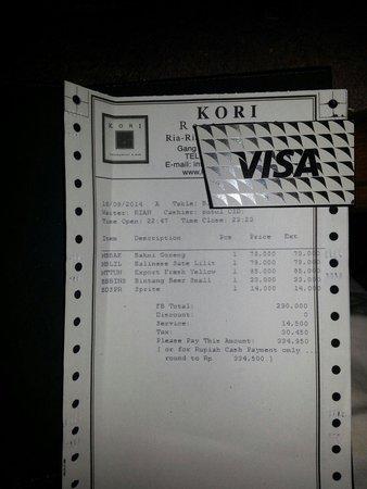 Kori Restaurant & Bar: Conto per due persone